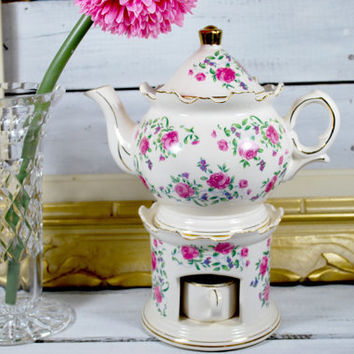 Shabby Teapot with Candle Warmer , Pink Flower Tea Set