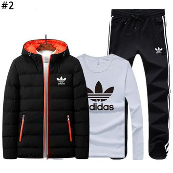 ADIDAS autumn and winter tide brand men and women plus velvet warm cardigan suit three-piece #2