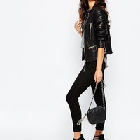 G-Star Be Raw Chopper Leather Look Biker Jacket With Zips at asos.com