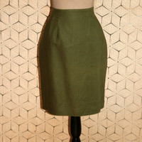 Olive Green Skirt Green Linen Skirt Short Skirt Green Midi Skirt High Waist Skirt Talbots Size 6 Skirt Women Small Skirt Womens Clothing