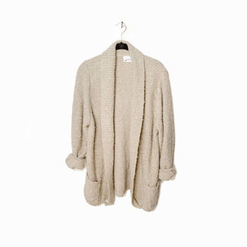 Vintage Oversized Boucle Cardigan Sweater in Light Tan - m