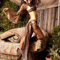 Bustle Belt Custom Made To Order Wild Gypsy Tribal Print Earth-toned Multilayered Up Cycled