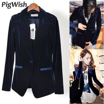 Pigwish Blazer Femme 2017 Fashion Women Blazers And Jackets Casual Suit Coat Jacket Single Button Woman Velvet Suit Slim Female