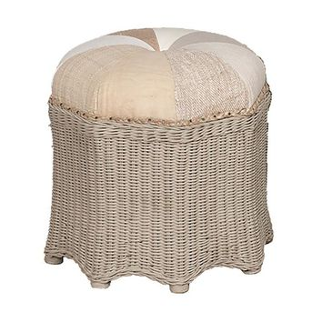 Cottage Rattan Ottoman Gray