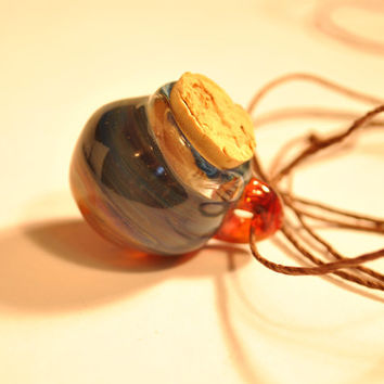 Glass Honeycomb Pendant Stash Jar ,galaxy orange blue Blown Glass Necklace Boro Jewelry Honey Comb