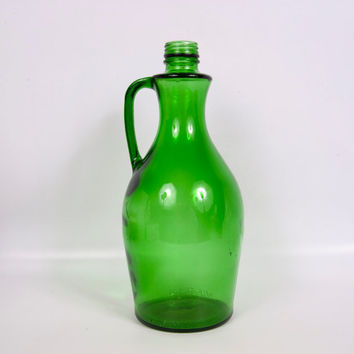 Vintage Emerald Green Glass Bottle Wine Large Decorative Art Glass Barware Flower Vase