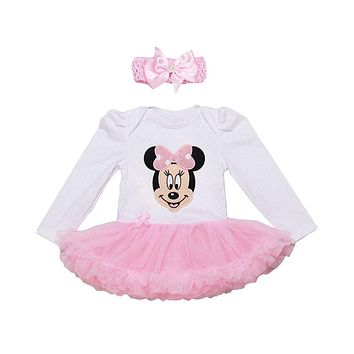 Newborn Baby Girl Dress With Headband Bebe Clothes Birthday Party Princess Fashion Baby Girls Tutu Ball Gown Dress For 0-2Y