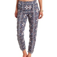 Tile Print Jogger Pants by Charlotte Russe - Gray