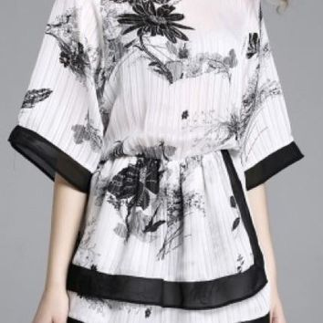 White and Black Floral Top