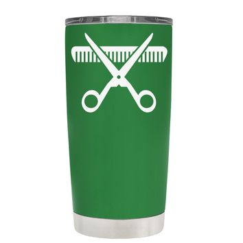 HairStylist Scissor and Comb Silhouette on Kelly Green 20 oz Tumbler Cup