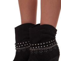 Black Lace and Stud Strap Boot