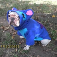 French Bulldog Boston Terrier Pug Dog Froodies Hoodies Halloween Costume Cosplay Lilo and Stitch Fleece Jacket Sweatshirt Coat