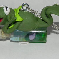 Kermit the Frog from the Muppets on a Bottle Necklace