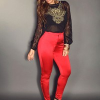 Foxy Shiny Red Fitted High Waisted Pants