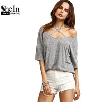 SheIn Womens Casual Tees Summer T shirt Tops Ladies Grey Ribbed Crisscross Front Half Sleeve Cold Shoulder T-shirt