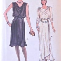 Drape Neck Evening Dress Pattern, Very Easy Vogue 9023, Size 8 | CandyAppleCrafts - Supplies on ArtFire