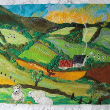 large felt painting, textile art, mountain view, 20 x 16 inches