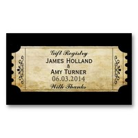 Vintage Wedding Ticket Invitations- Gift Registry Business Card Template