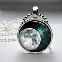 Full Moon Glass Tile Bezel Pendant