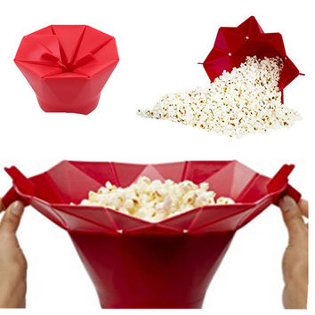 Microwave Silicone Popcorn Bowl Baking Snack Popper Maker