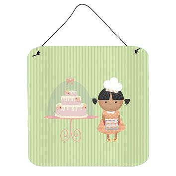 Cake Baker African American Green Wall or Door Hanging Prints BB7259DS66