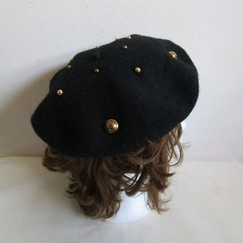 Vintage 1980s Wool Beret Black Embellished Wool 80s Ladies Gold Dome Studded Hat SM-MD