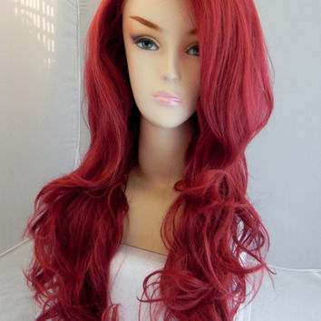 ON SALE / Lace Front Wig, Bordeaux Wine Red, Auburn Hair, Pin Up Hair Style, Long Wavy Natural Hair, Full Body Curly