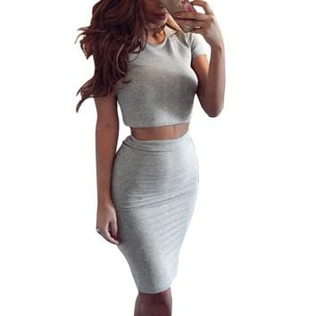 Summer Women Two Piece Outfits Bodycon Midi Dress
