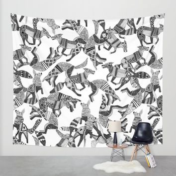 woodland fox party black white Wall Tapestry by Sharon Turner | Society6