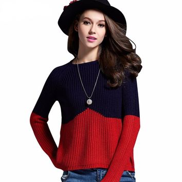 Duo Color Block Knitted Sweater