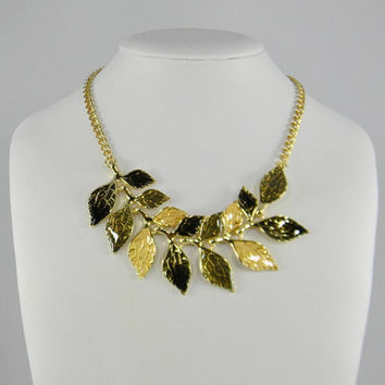 Cream Black Gray Gold Statement Necklace Translucent Overlay Gold - Branch of Leaves / Leaf Choker Necklace Perfect for Thanksgiving or Fall