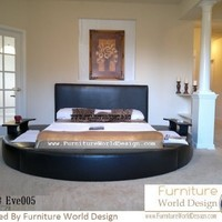 Queen Size Leather Round Bed with 2 Night Tables Item # Eve005
