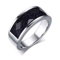Mens Rings Daily Blue Sandstone Titanium Steel in Silver color Wedding Band Bague Jewelry Anel Aneis Masculinos Anillos Anti -in Rings from Jewelry & Accessories on Aliexpress.com | Alibaba Group