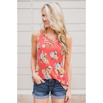 Beautiful Blossoms Criss Cross Tank Top- Soft Coral