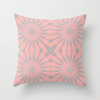 Pink & Gray Flowers Throw Pillow by 2sweet4words Designs