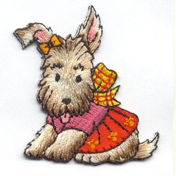 Super cute little puppy with bows and jacket Iron on applique patch by Cedar Creek Patch Shop on Etsy