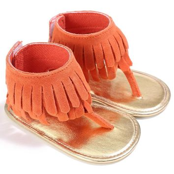 Baby Girls Summer Style Sandal Fashion Breathable Tassel Shoes Anti-slip Flip Flop Newborn Bebe Sandal 0-18M