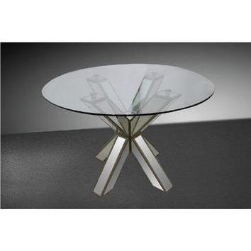 VIG Modrest Hancock - Transitional Mirrored Round Glass Dining Table
