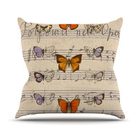 "Suzanne Carter ""Butterfly Opera"" Music Tan Throw Pillow"