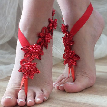 FREE SHIP red sequins and pearls Barefoot , french lace sandals, wedding anklet, Beach wedding barefoot sandals,  sandals,  Christmas gifts