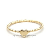 sterling silver, tiny heart ring, twisted in gold