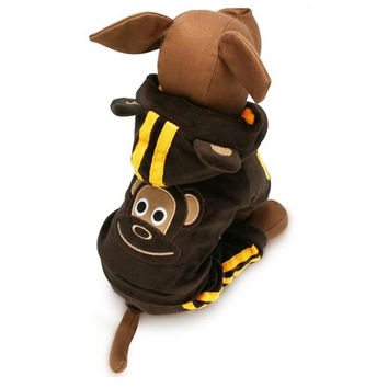Cute Brown Monkey Suit for Dogs & Pet Clothing - Size 3
