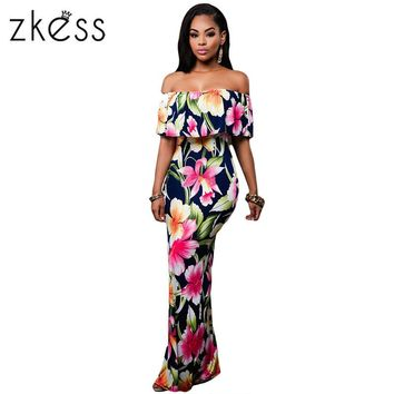 Zkess Tropical Print Dress Women Long Party Dresses 2017 Elegant Bohemia Dress Maxi Mermaid Gown Vestido de festa LC61189