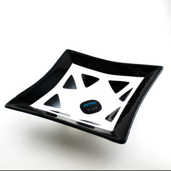 Black and White Square Fused Glass Bowl, Serving Dish, Geometric Design, Fruit Storage, Salad Server, Kitchen Decor, Unique Wedding Gift