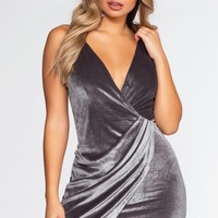 Romance Me Velvet Dress - Pearl Gray