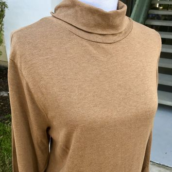COLDWATER CREEK Women's PLUS SIZE 100% Cotton Caramel Turtle Neck, Size 2X XXL