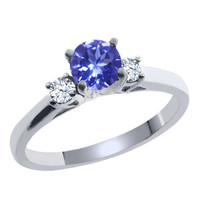 Blue Tanzanite White Topaz 925 Sterling Silver Ring