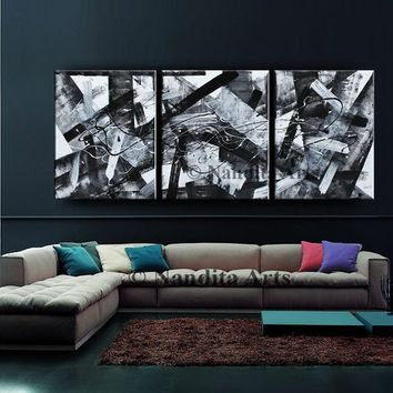 Painting, Black and White Abstract Art, Original Minimalist Modern Wall Art Large Wall Decor. Geometric Art for Sale by Nandita Albright