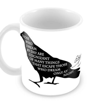 Poe Raven Coffee Mug with Quote and Signature