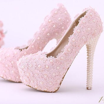 Pink Lace Up Bead Wedding Shoes